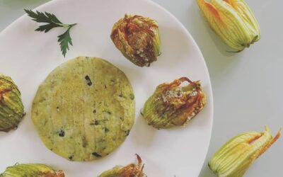 Burger di zucchine e fiori di zucca